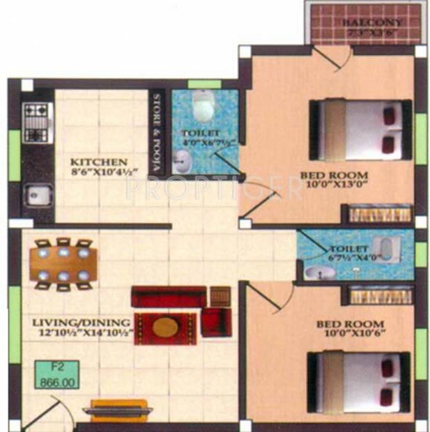 Infraz Edenz (2BHK+2T (866 sq ft) 866 sq ft)