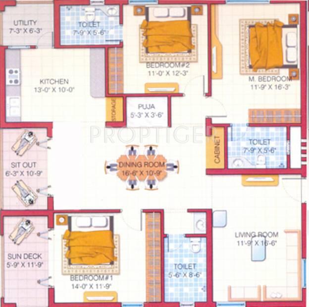 NCC Park Square (3BHK+3T (4,000 sq ft) + Pooja Room 4000 sq ft)