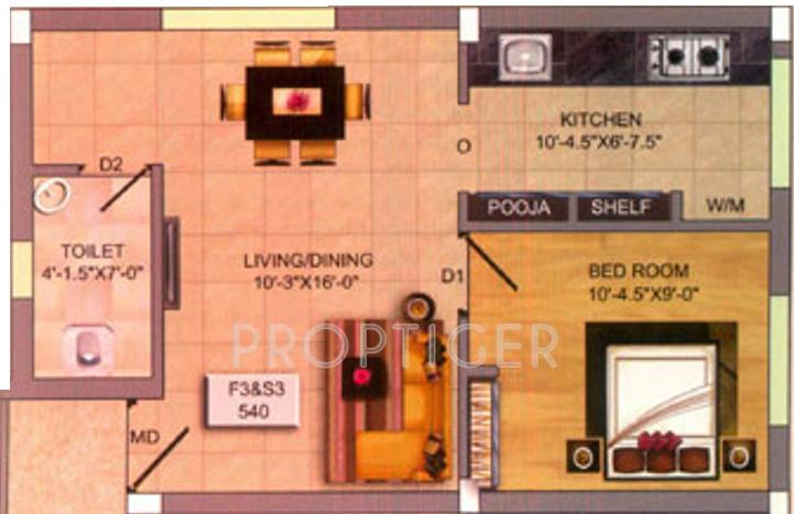 540 Sq Ft 1 Bhk Floor Plan Image Infraz Heavenz