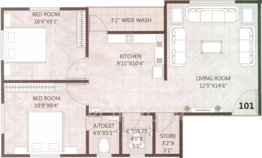 1000 Sq Ft 2 Bhk 2t Apartment For Sale In Tulsi Infra