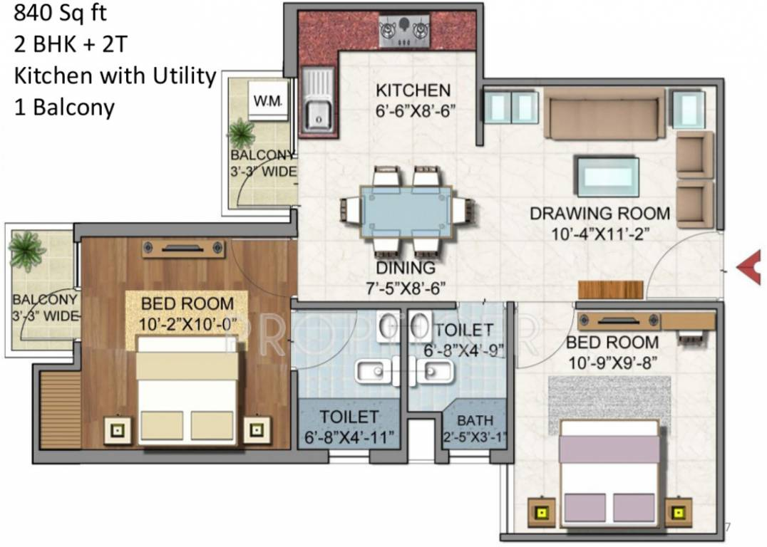 840 sq ft 2 bhk 2t apartment for sale in aditya gzb urban for 840 sq ft house plans