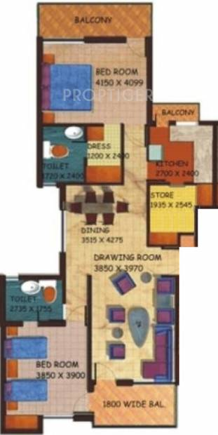 Getmore Coconut Grove Residence (2BHK+2T (1,450 sq ft) 1450 sq ft)