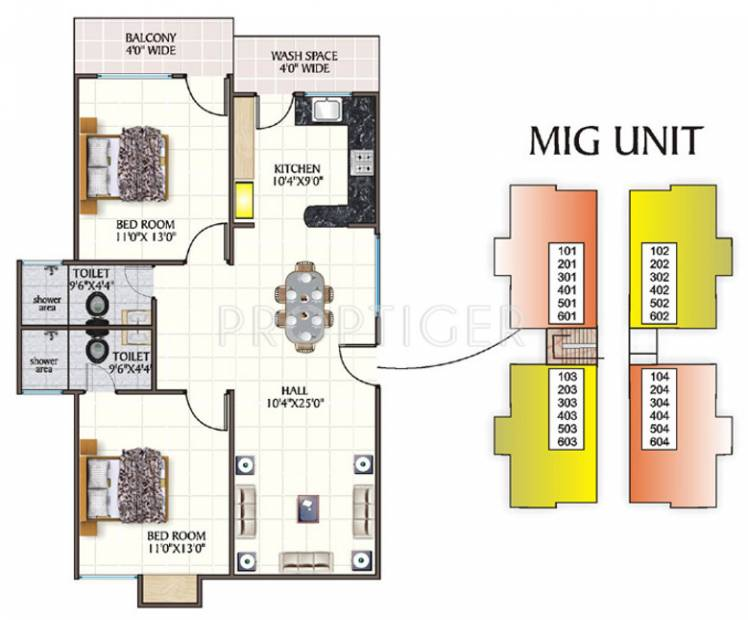 1200 sq ft 2 bhk floor plan image nikhil homes nestles for Apartment plans 1200 sq ft