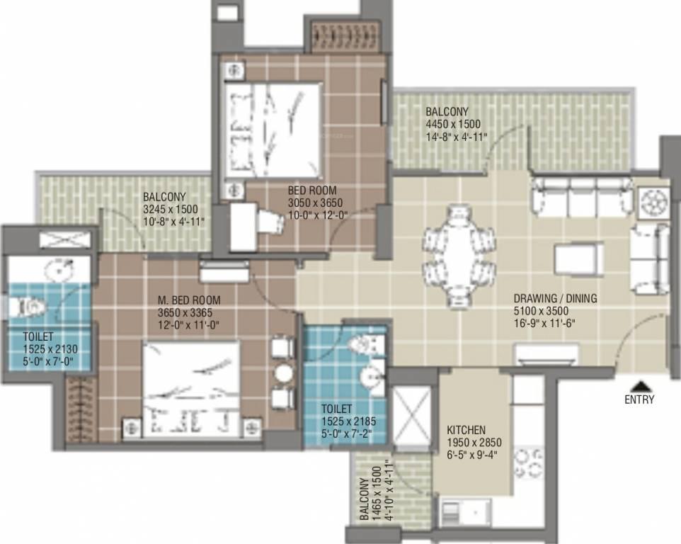 1093 sq ft 2 bhk 2t apartment for sale in rg residency for X2 residency floor plan