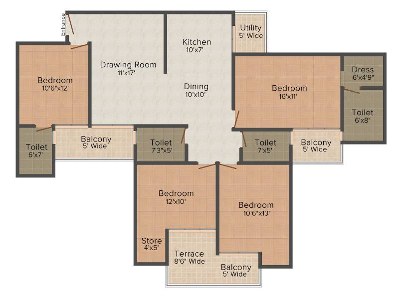 Ajnara Homes (4BHK+4T (1,960 sq ft) 1960 sq ft)
