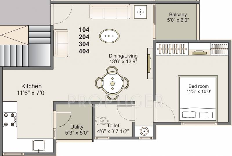 512 sq ft 1 bhk floor plan image shreeji creation for 512 plan