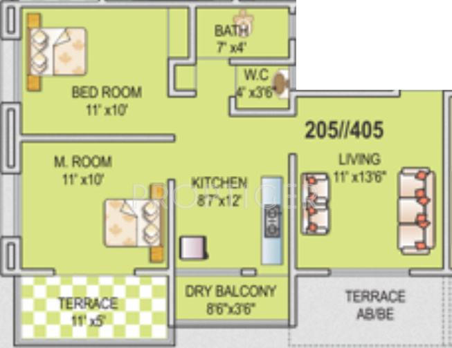 950 Sq Ft 2 Bhk 1t Apartment For Sale In Samarth