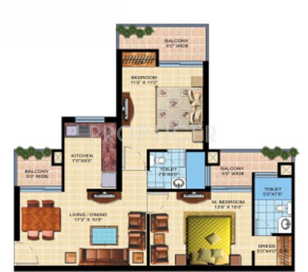 Shaurya Alstonia (2BHK+2T (1,075 sq ft) 1075 sq ft)