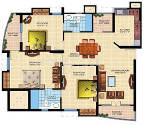 Shaurya Alstonia (3BHK+2T (1,605 sq ft) 1605 sq ft)