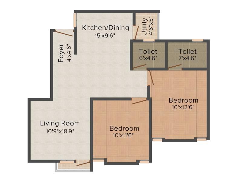 Shayona Bhavyam Homes (2BHK+2T (1,015 sq ft) 1015 sq ft)