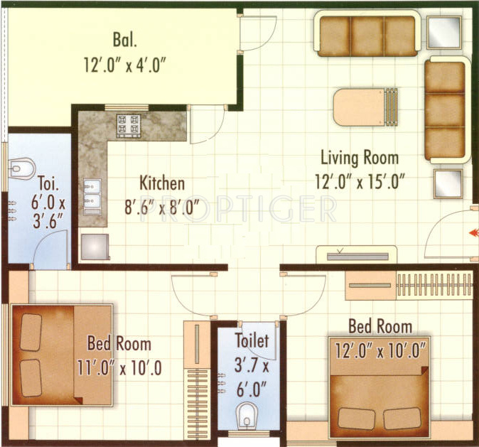 925 Sq Ft 2 Bhk 2t Apartment For Sale In Shree Hari
