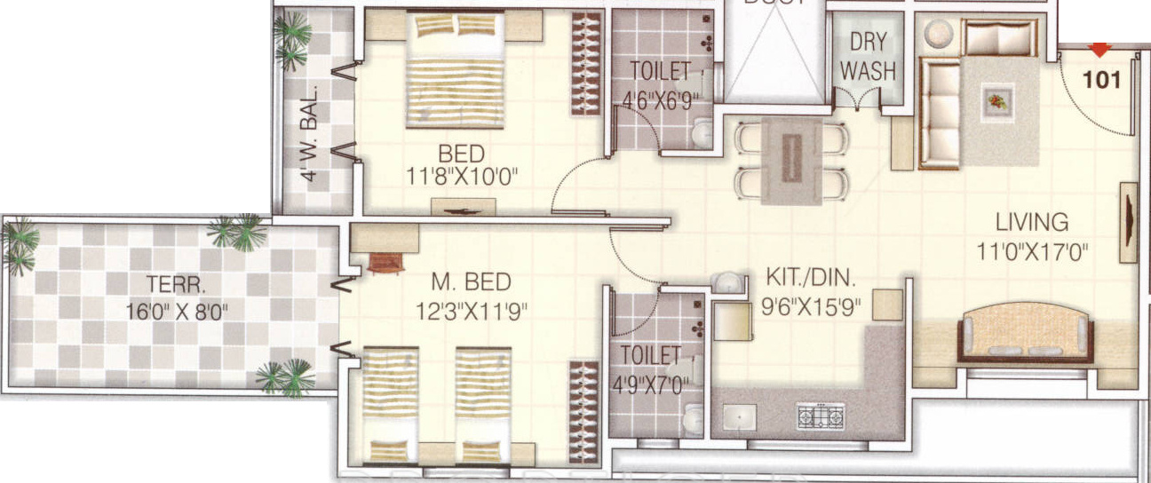 1230 sq ft 2 bhk 2t apartment for sale in om sai shilp