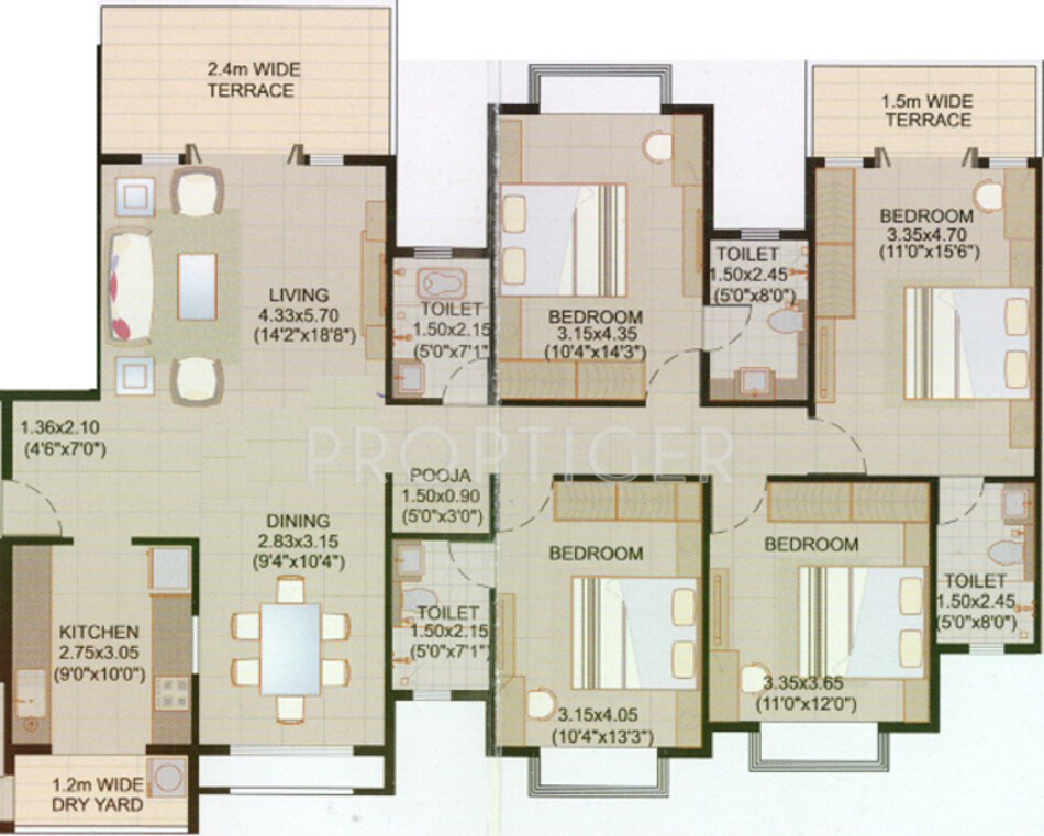 2200 Sq Ft 4 Bhk 4t Apartment For Sale In Amber Estate
