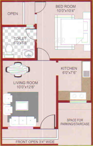 400 Sq Ft 1 Bhk Floor Plan Image Nikhil Magnolia Green