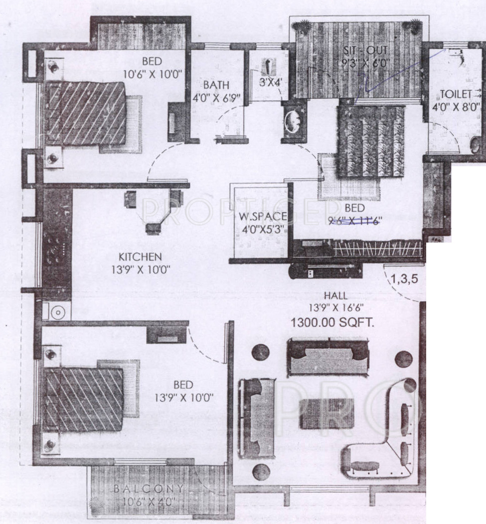 1300 Sq Ft 3 Bhk 3t Apartment For Sale In Shri Vinayaka