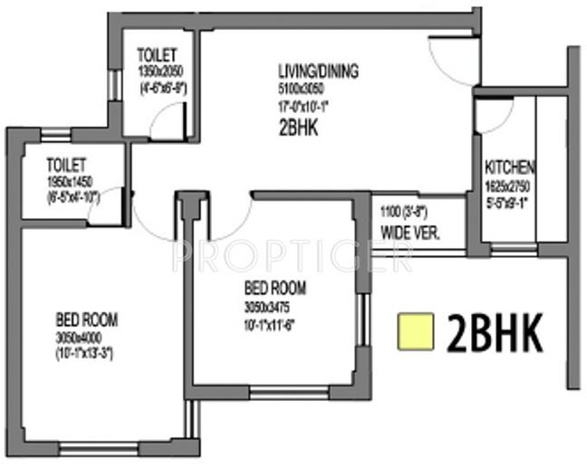 Mantra Mantra Vihar (2BHK+2T (898 sq ft) + Study Room 898 sq ft)