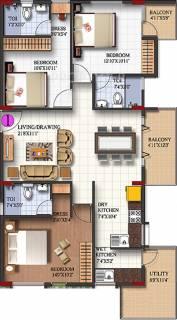 1479 sq ft 3 BHK Floor Plan Image