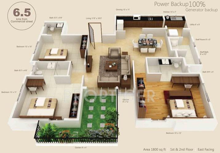 1800 sq ft 3 BHK Floor Plan Image - Prime AssetSource ...