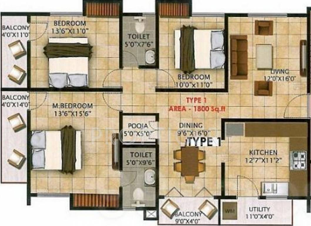 1800 sq ft 3 bhk 2t apartment for sale in nandi dollars for 1800 sq ft indian house plans