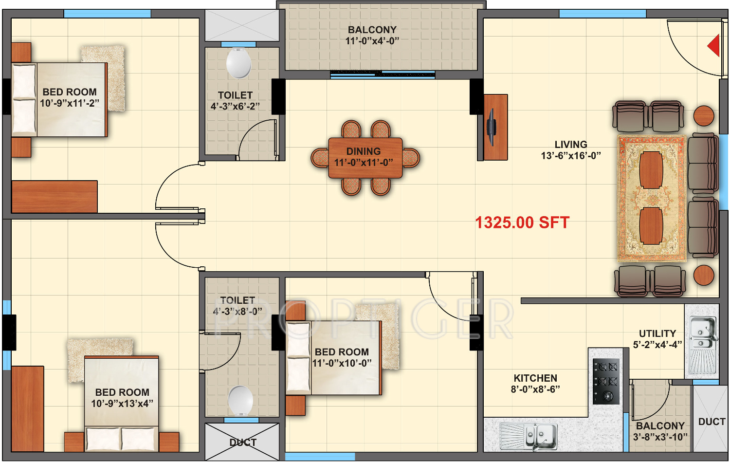 1325 sq ft 3 bhk 2t apartment for sale in purva mithra for Elite house plans
