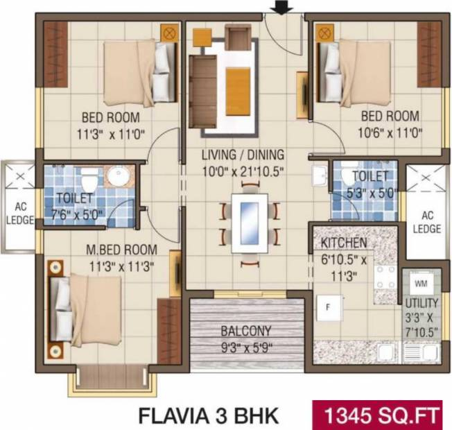 Alliance Galleria Residences (3BHK+2T (1,345 sq ft) 1345 sq ft)