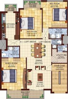 1550 Sq Ft 3 Bhk Floor Plan Image Dlf Valley Available For Sale Rs In 65 10 Lacs Proptiger Com