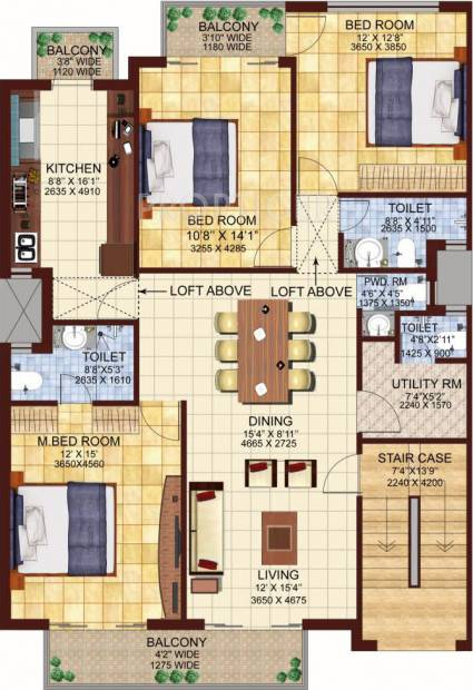 DLF Valley (3BHK+3T (1,550 sq ft) 1550 sq ft)