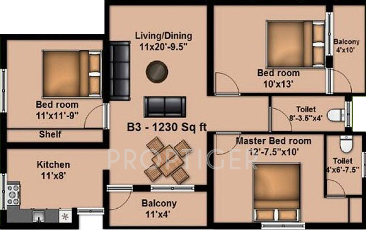 1230 sq ft 3 bhk 2t apartment for sale in anu mayura flats