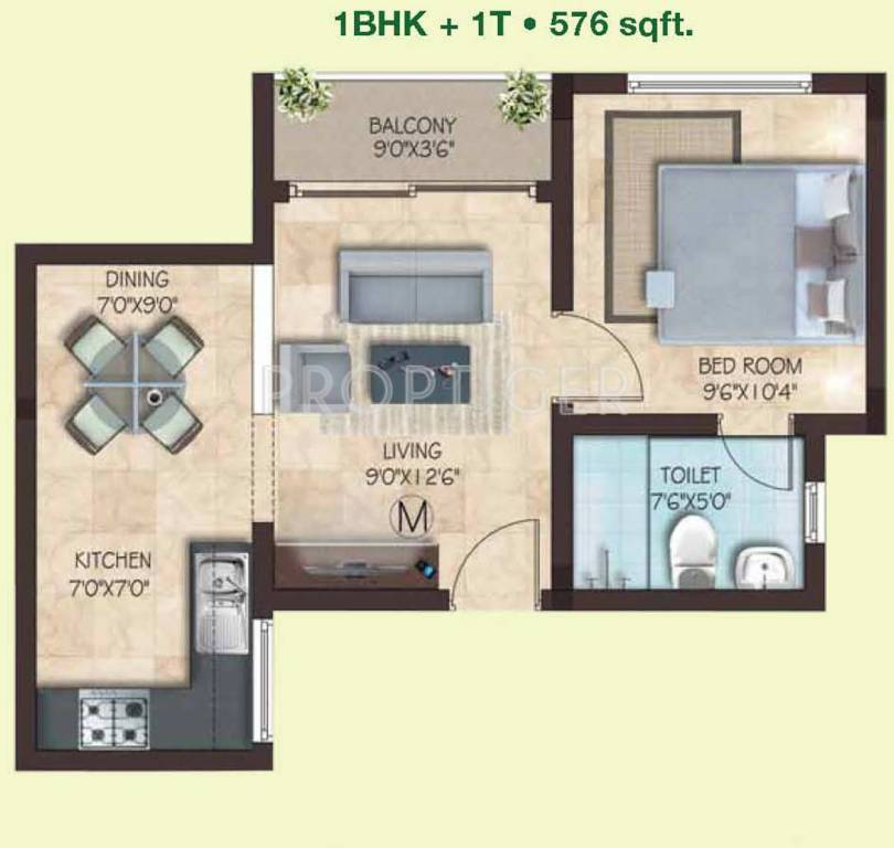 576 sq ft 1 bhk 1t apartment for sale in casagrand builder for 576 sq ft floor plan
