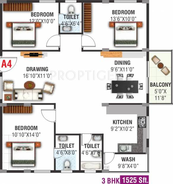 Hilife Whistling Winds (3BHK+3T (1,525 sq ft) 1525 sq ft)