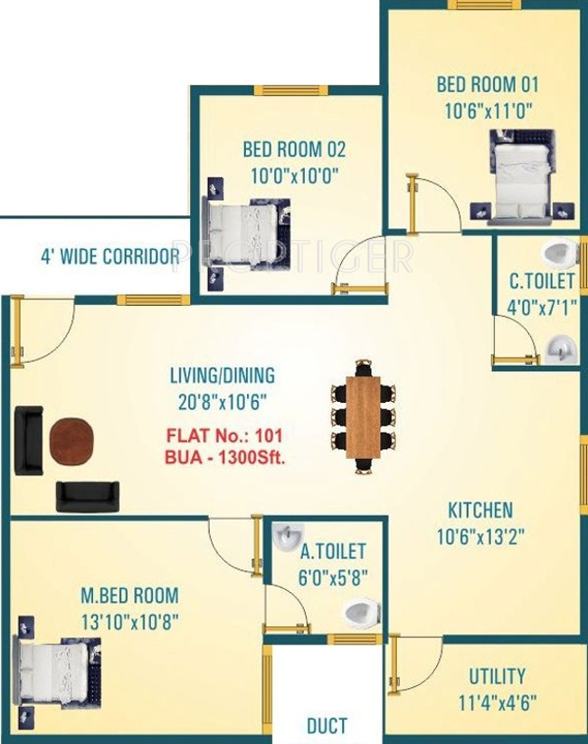 1300 Sq Ft 3 Bhk 2t Apartment For Sale In Jana Jeeva