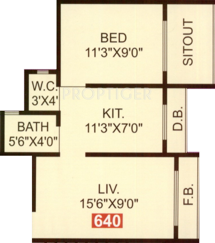 640 Sq Ft 1 Bhk 1t Apartment For Sale In Om Sai Developers