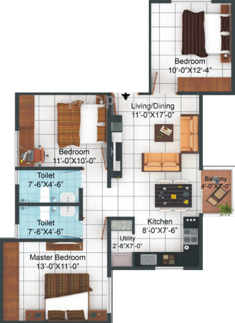 1100 Sq Ft 3 Bhk 2t Apartment For Sale In Sampurna