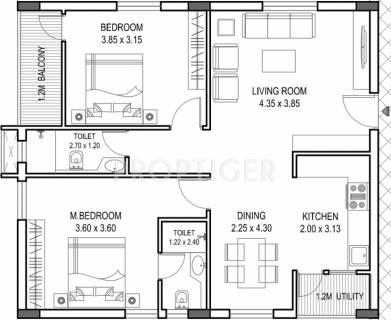 1500 Sq Ft 2 Bhk Floor Plan Image Novus Infra Pvt Ltd Florence Village Available Rs 3 100 Per Sqft For Sale Proptiger Com