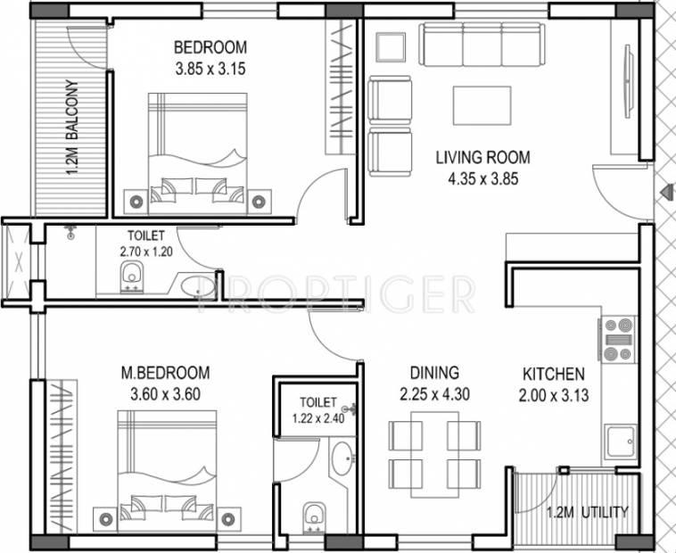 1500 sq ft 2 BHK Floor Plan Image - Novus Infra Pvt Ltd ...