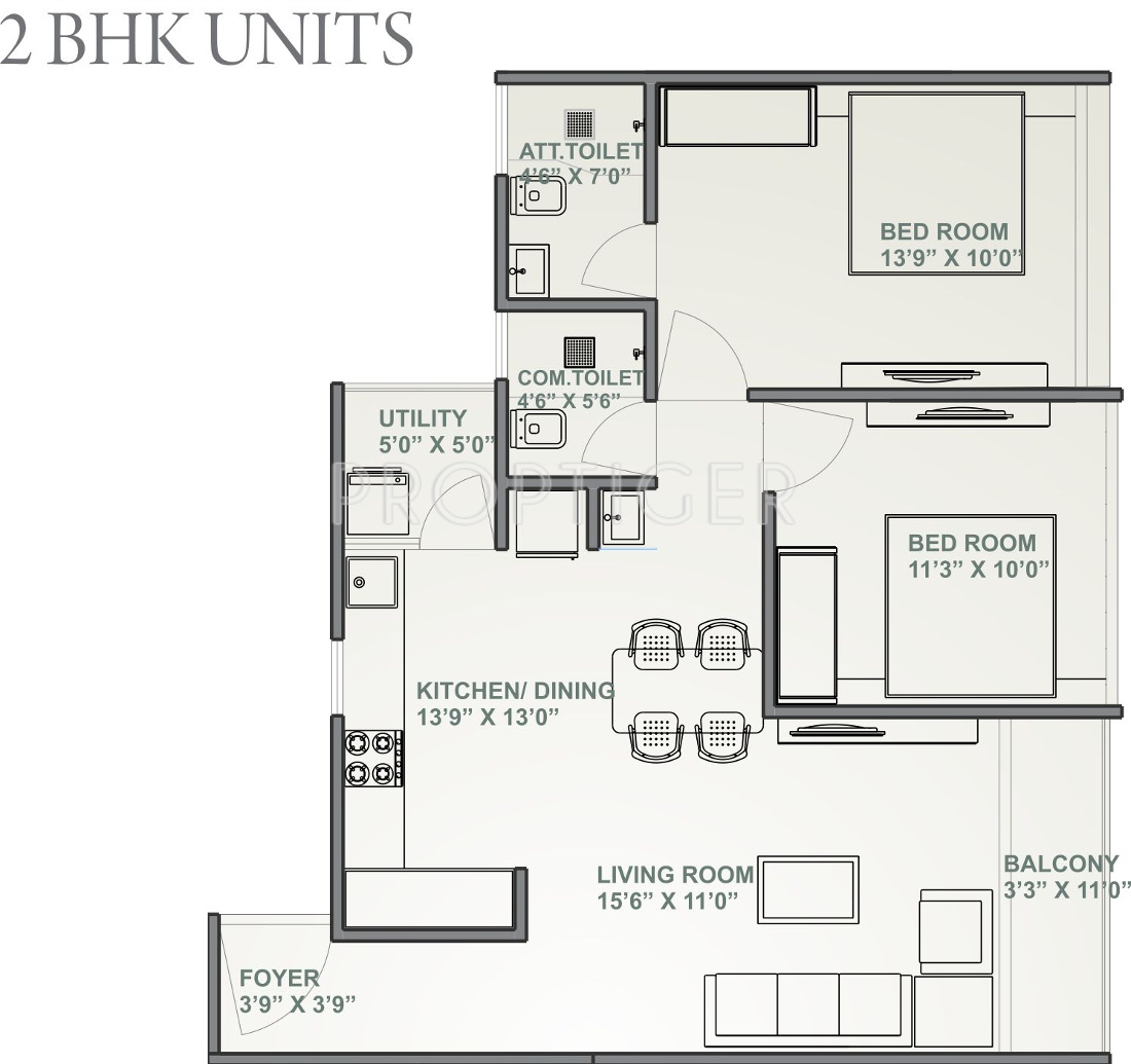 1100 Sq Ft 2 Bhk 3t Apartment For Sale In Aatmiya Group