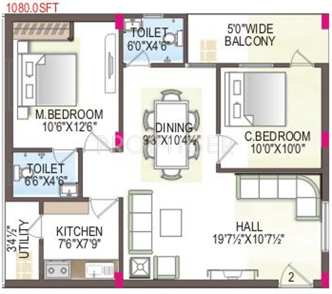 1080 sq ft 2 BHK Floor Plan Image - MMFC MM City Available for sale