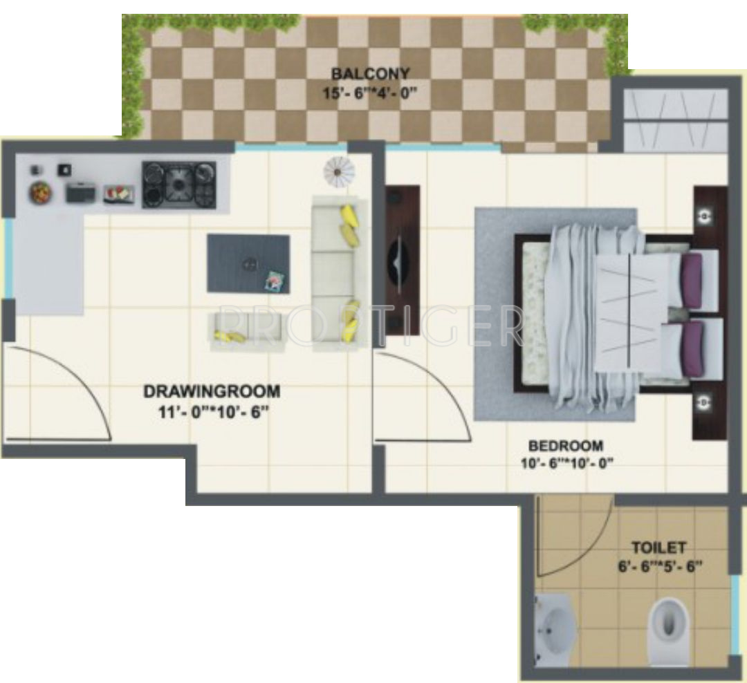 400 sq ft 1 bhk 1t apartment for sale in truth india ela for 1 bhk floor plans india
