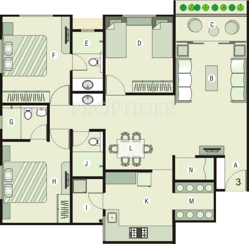 1629 sq ft 3 bhk 3t apartment for sale in shaligram garden for X2 residency floor plan