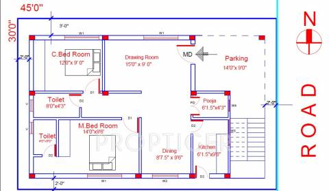 1250 sq ft 2 BHK Floor Plan Image - SV