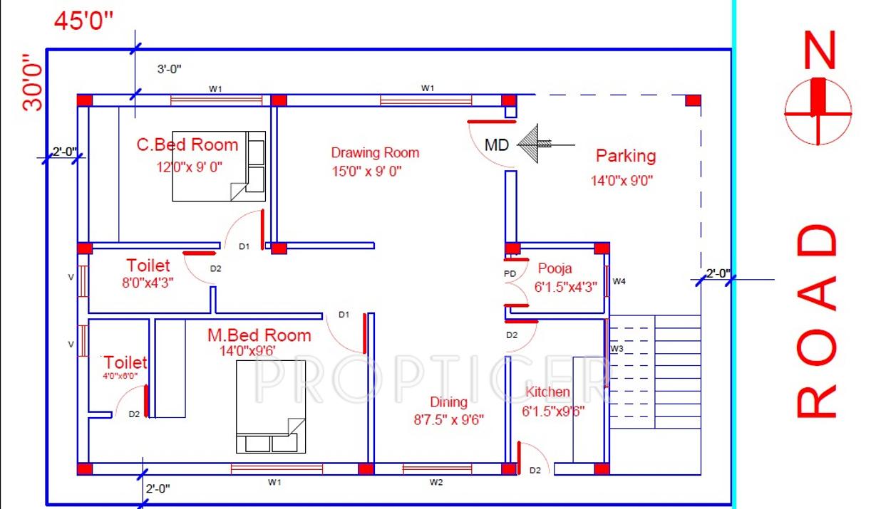 1250 sq ft 2 bhk floor plan image