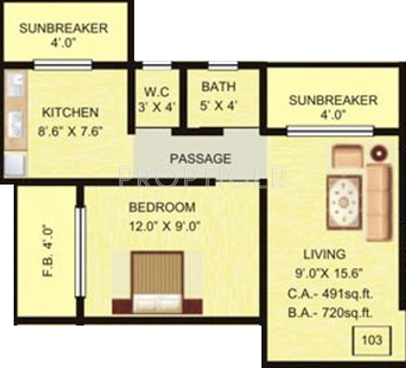 720 sq ft 1 bhk 1t apartment for sale in pratham for 720 sq ft apartment floor plan