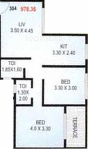Haware Tiara (2BHK+2T (978 sq ft) 978 sq ft)