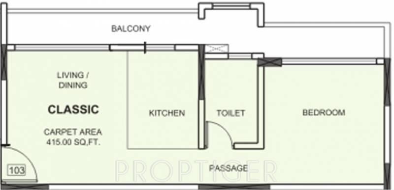 Nirvana Alive (1BHK+1T (415 sq ft) 415 sq ft)