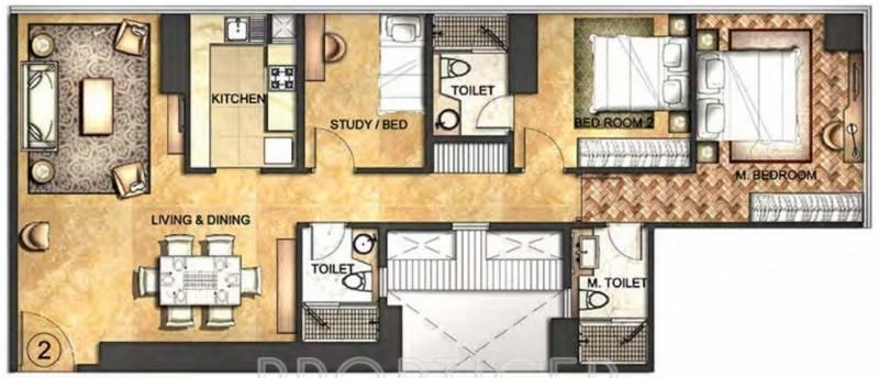 Indiabulls Blu (2BHK+2T (1,574 sq ft) + Study Room 1574 sq ft)