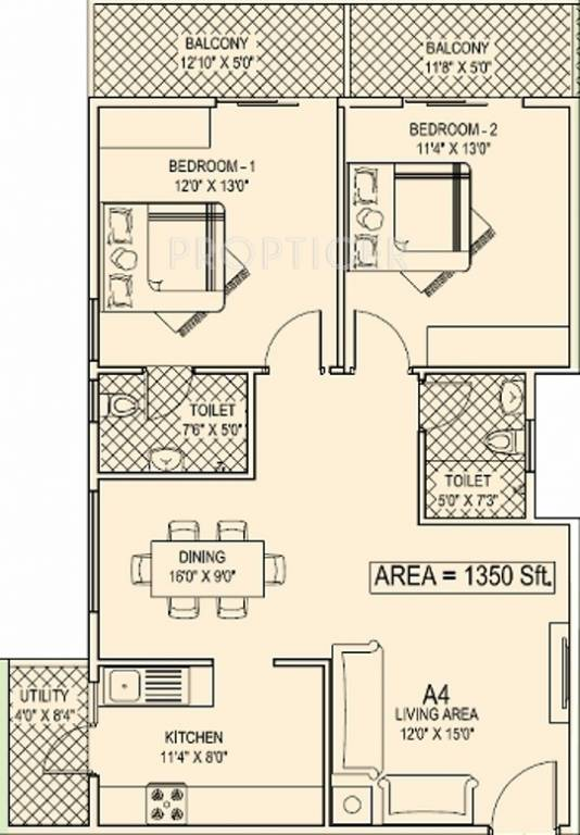 1350 Sq Ft House Design: 1350 Sq Ft 2 BHK 2T Apartment For Sale In INDWIN Galaxy