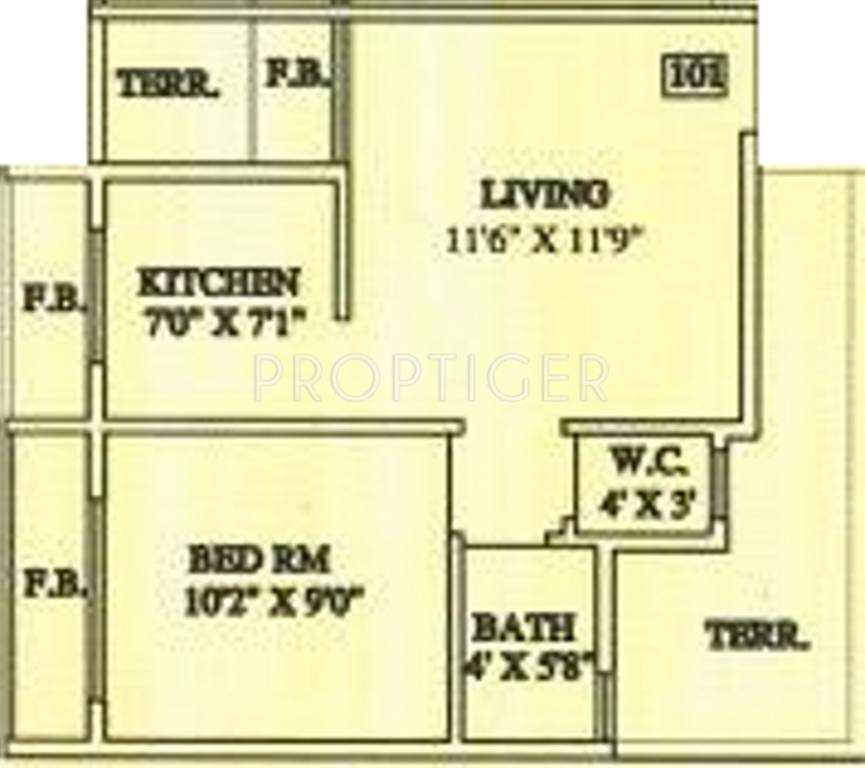 640 Sq Ft 1 Bhk 1t Apartment For Sale In Aashirwad Builder