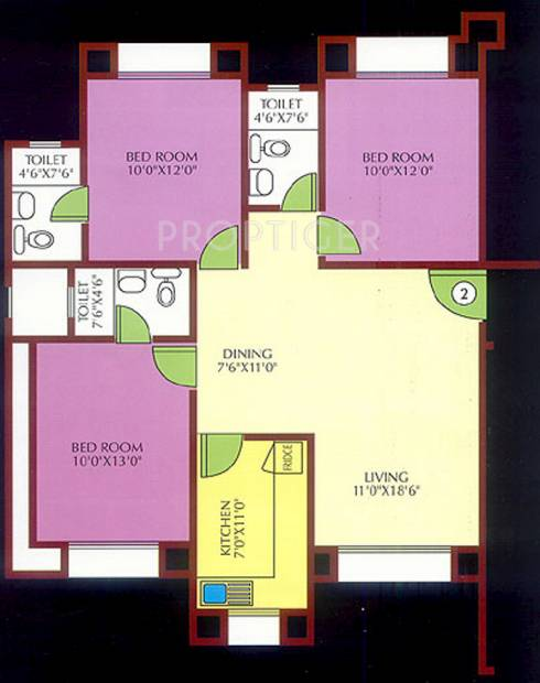 Ansal Whispering Meadows (3BHK+3T (1,028 sq ft) 1028 sq ft)