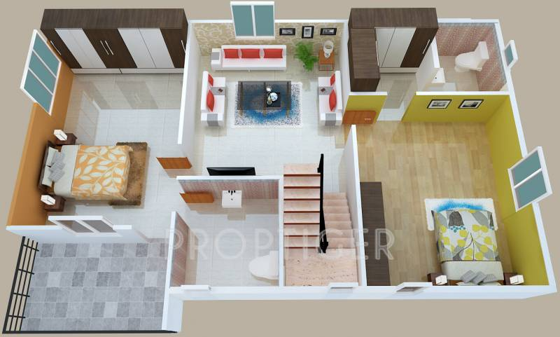 1800 Sq Ft 3 BHK Floor Plan Image