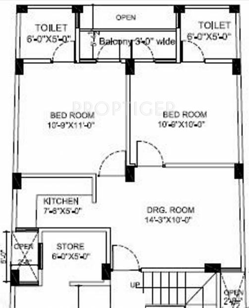 650 Sq Ft 2 Bhk Floor Plan Image Jm Constructions